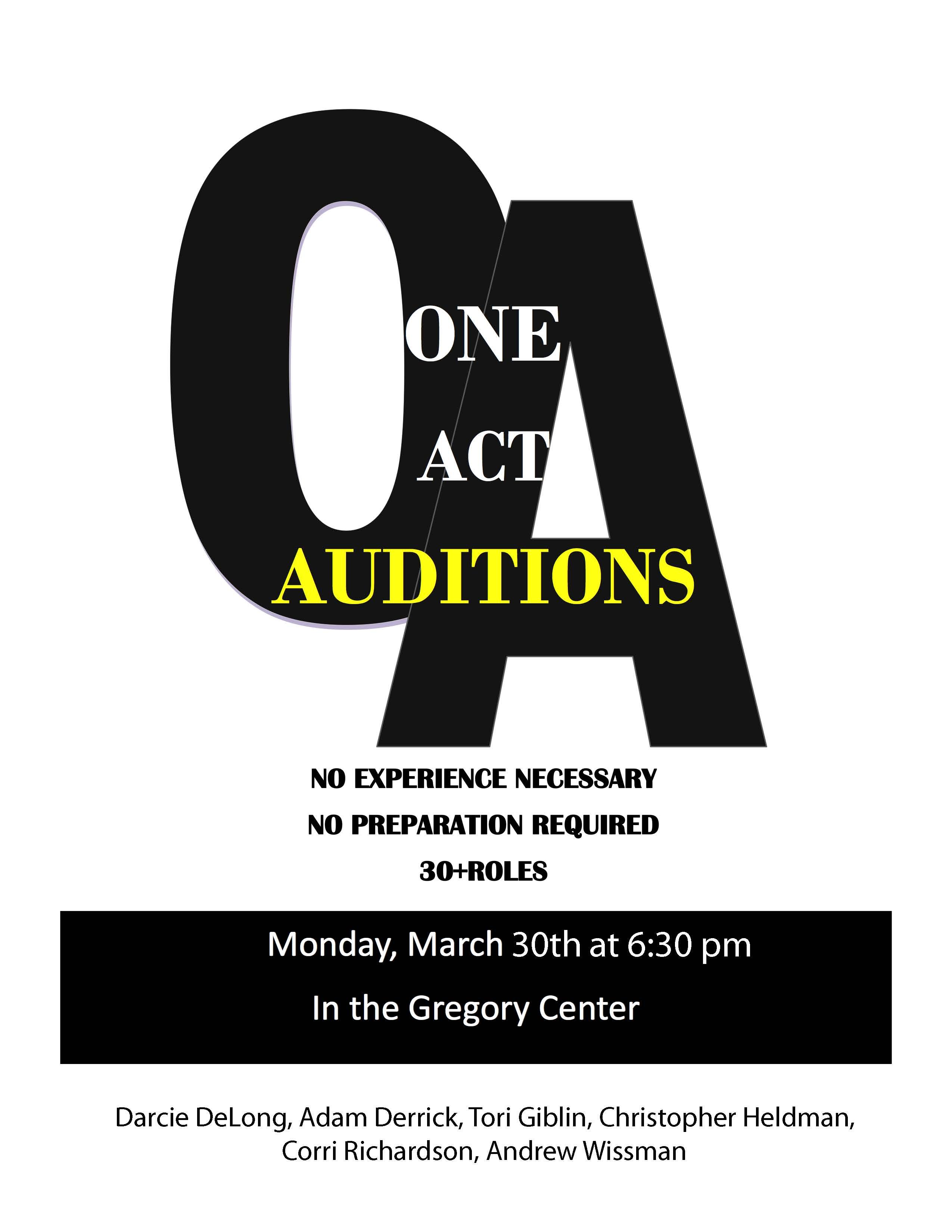 OneActAuditions Flyer2015