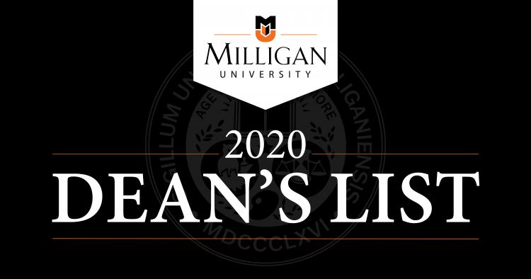Milligan Dean's List 2020 banner